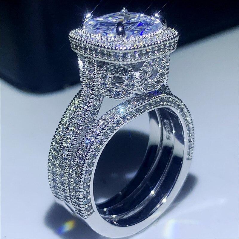 خمر الأزياء والمجوهرات 3 قطعة حلقة مجموعة 925 فضة وسادة شكل الأبيض واضح 5A زركون النساء حجم 5-10