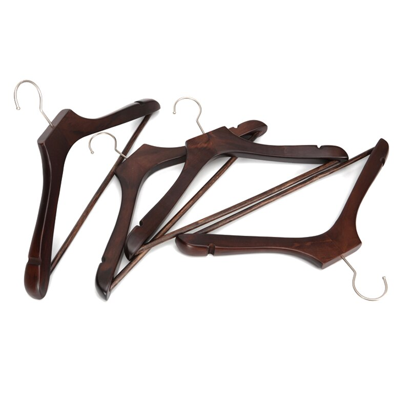 5 uds. Ganchos de madera antideslizantes gruesos cromados Extra fuertes para traje de abrigo de Hotel MYDING