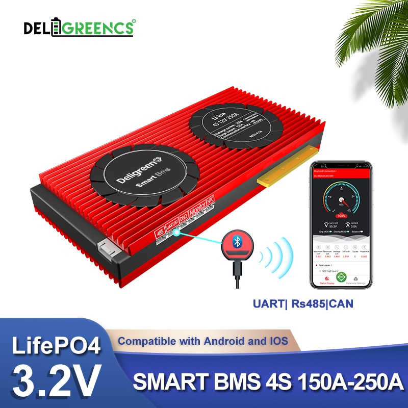 4S 12V BMS Smart BMS 150A 200A 250A UART 485 Bluetooth control for 12V LiFePO4 Battery RV Power storage with balance