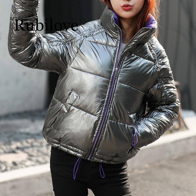 2019 Glossy Jacket Women Winter Fashion Warm Thick Solid Short Style Cotton padded Parkas Coat Stand Collar недорого