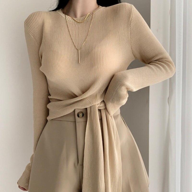 Coreano Chic suéter otoño temprano suave estilo Sexy Slim Sentido de diseño de cuello redondo suéter de manga larga de las mujeres
