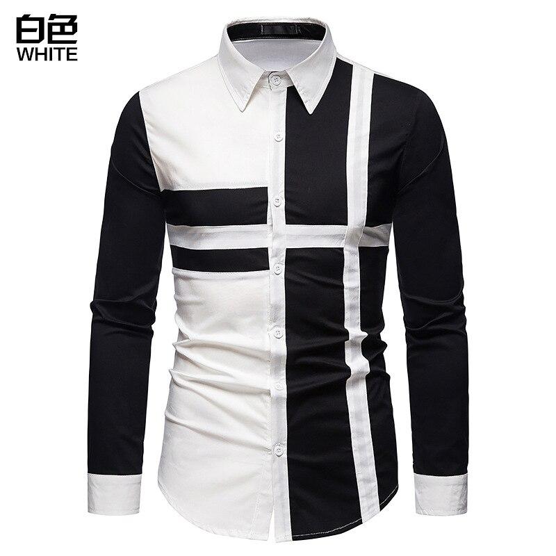Мужская рубашка, Новая европейская Мужская рубашка, комбинированная рубашка с длинным рукавом, мужская рубашка, модная рубашка,