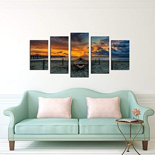 5 Pieces ocean canvas wall art Fishing Boats sunset ocean wave Wall Decor Art Giclee Print Drop shipping
