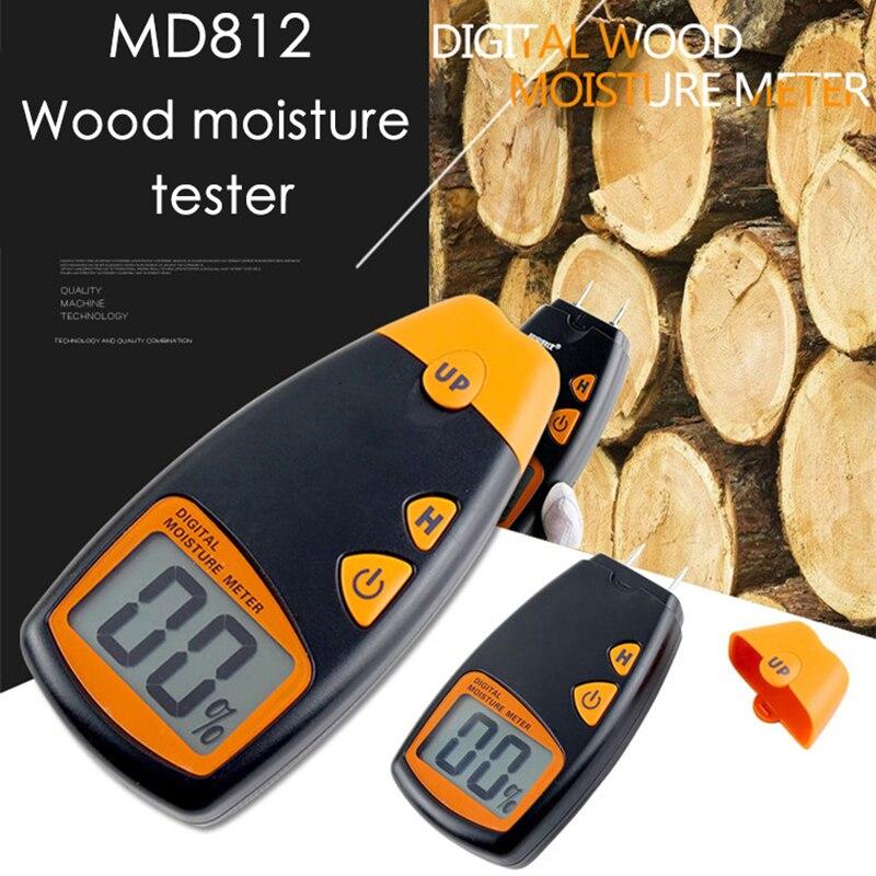 Junejour 0-99.9% medidor de humedad de madera Digital de dos pines higrómetro de madera humedad Detector de madera pantalla LCD grande