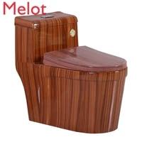 wood grain toilet household flush toilet marbling color cool toilet super swirling style water saving large diameter