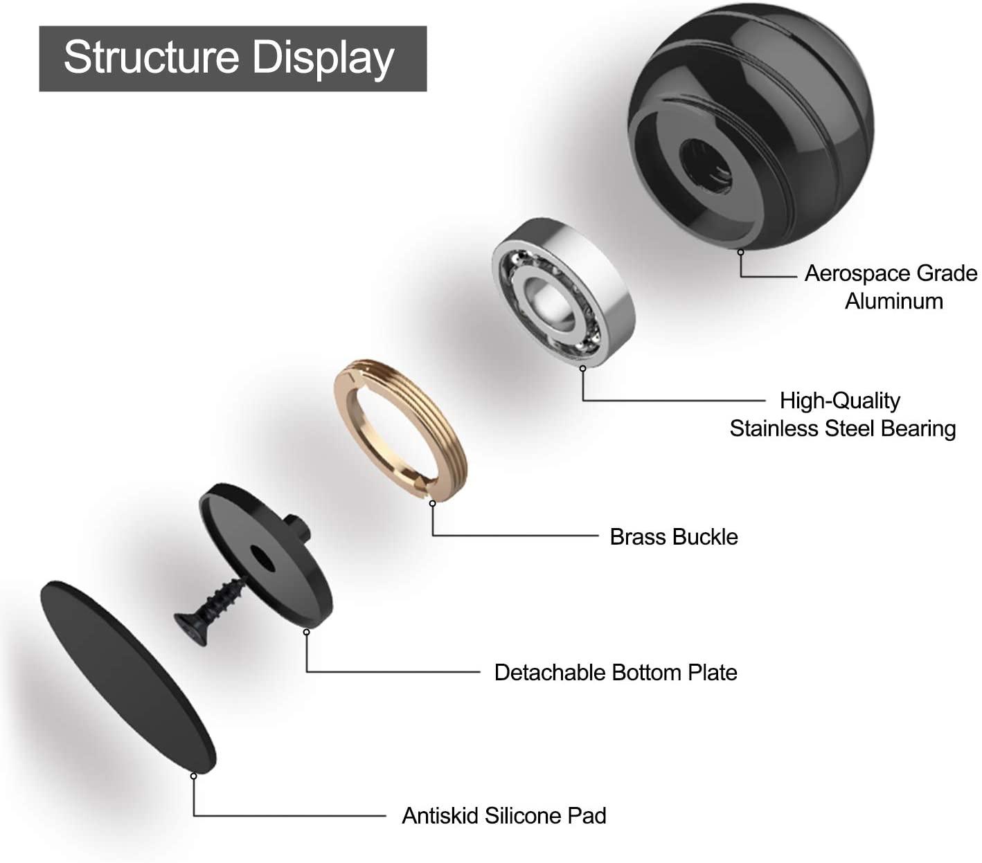 40mm Desktop Decompression Rotating Spherical Gyroscope Office Desk Fidget   Toys Optical Illusion Flowing Finger Toys Adult Gif enlarge