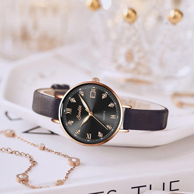 Relogio feminino SUNKTA Women Watches Top Luxury Brand Girl Quartz Watch Casual Leather Ladies Dress Watch Women Reloj Mujer+Box enlarge