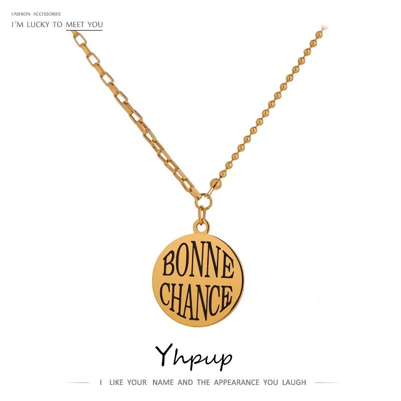 """Yhpup Fashion """"Bonne Chance"""" okrągły wisiorek wyróżniający się naszyjnik stalowy łańcuch Choker ожереле бижутерия для женщин 2020"""