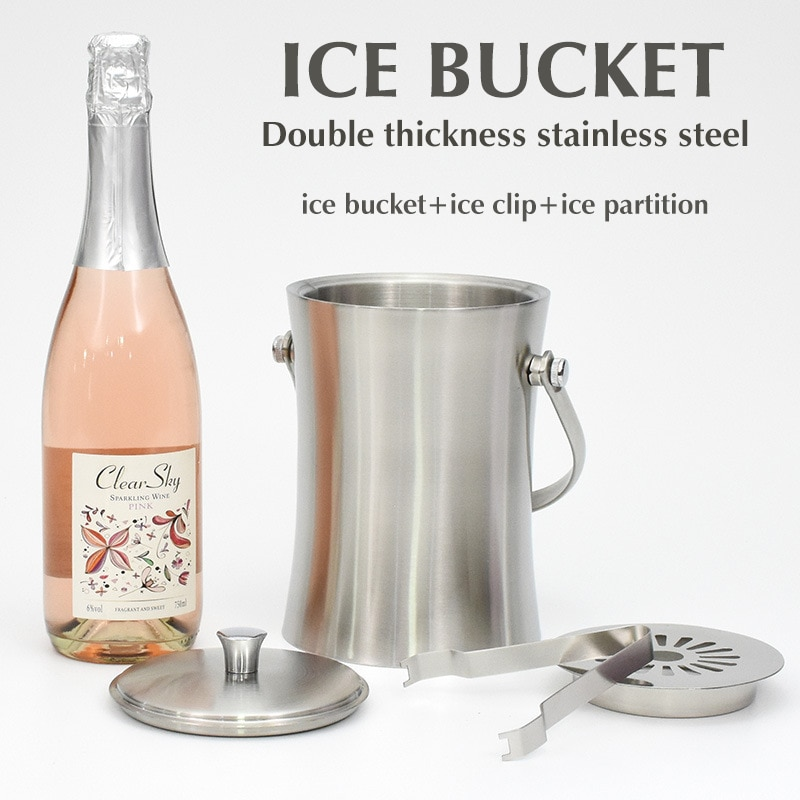 Stainless Steel Double-Layer Ice Bucket with Clip Spacer Whiskey and Ice Cube Cooling Small Waist Ice Bucket  Bar Supplies