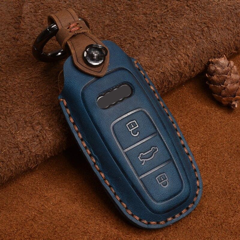 Couro caso da capa da chave do carro para audi a6 a7 a8 q8 e-tron c8 d5 a8l a6l 2018 2019 2020 acessórios capa de proteção da chave do carro