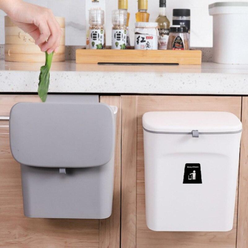 9l cozinha lata de lixo fixado na parede do agregado familiar pendurado com tampa de lixo criativo para o armazenamento de resíduos de banheiro bucketn