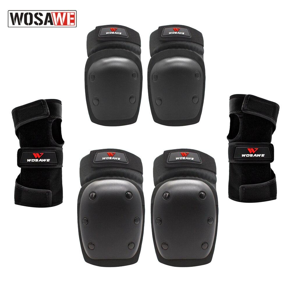 WOSAWE-وسادات الركبة للوح التزلج وركوب الدراجات ، واقيات المعصم ، 3 في 1 ، مجموعة معدات الحماية للتزلج على الجليد