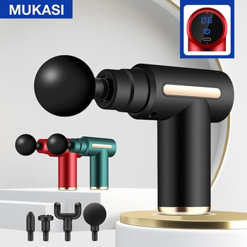 MUKASI LCD Display Massage Gun Electric Massager For Body Neck Back Deep Muscle Relaxation Fitness Slimming Pain Relief Therapy