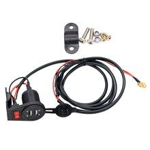 Chargeur à double prise USB 12V-24V   Pour moto, chargeur avec interrupteur hors tension