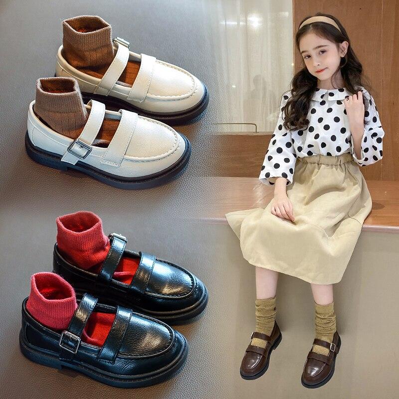 AAdct 2020, zapatos para niñas de estilo británico, zapatos de cuero para niños, suela suave de princesa, pequeños zapatos infantiles para niñas, nueva marca de primavera