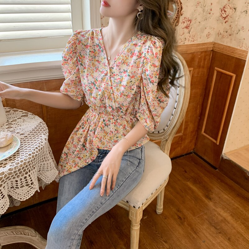 summer women blouses v neck boho chiffon tops  5825#