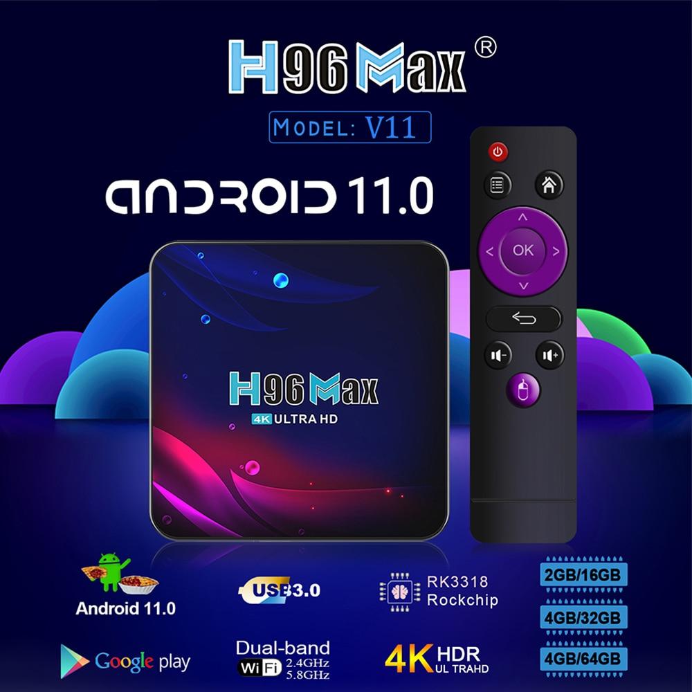 2021 H96 ماكس V11 أندرويد 11 صندوق التلفزيون RK3318 الذكية HD 4K تي في بوكس أندرويد Youtobe مشغل الوسائط بلوتوث 4G 64G الرئيسية مجموعة صندوق