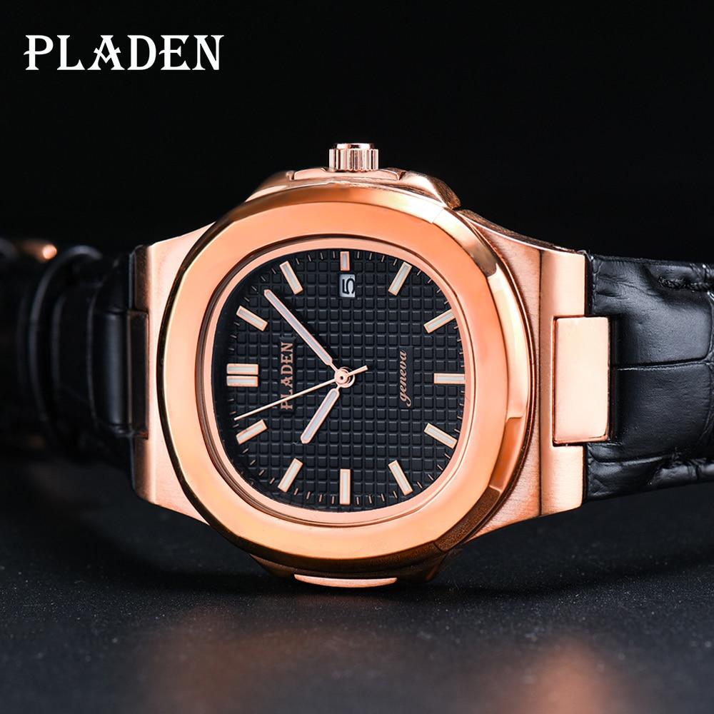 بلادن أفضل العلامة التجارية الجديدة جلد طبيعي أسود حزام ساعة الرجال كوارتز ساعة اليد الفاخرة الياقوت الزجاج ساعة رياضية الرجال Relogio