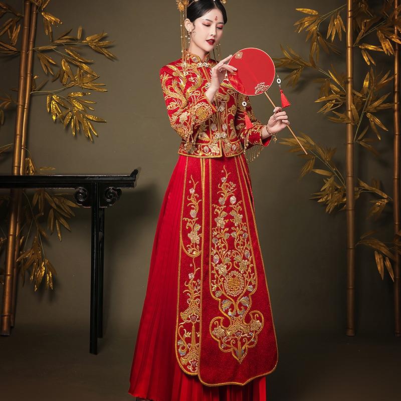 Vestido de novia de China, vestido de novia de estilo chino, vestido de gala cheongsam, elegante traje tostado en el extranjero chino tradicional novia Qipao