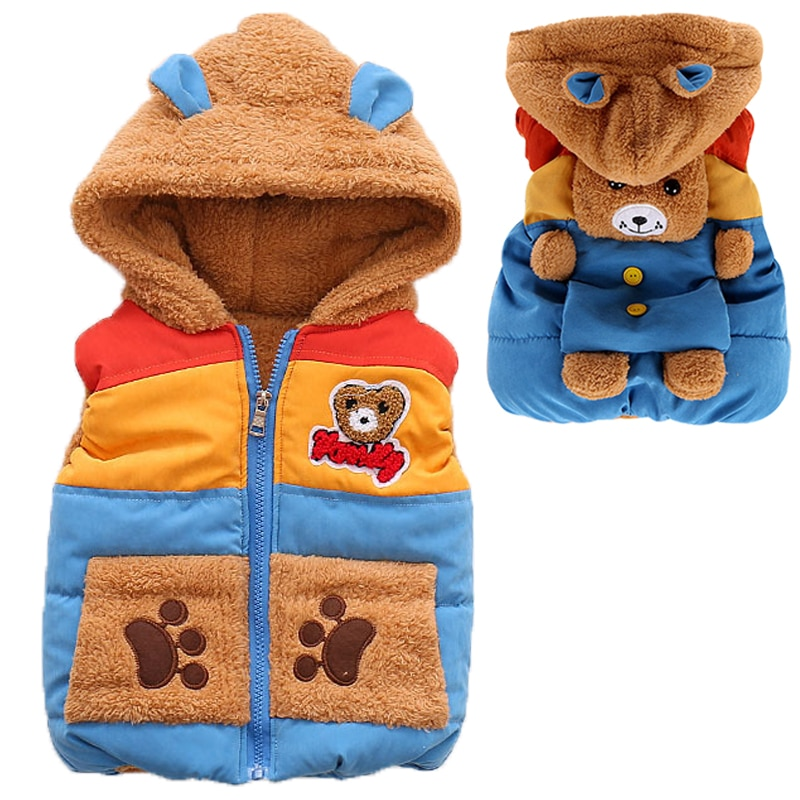 Baby Boys Girls Winter Jacket Thick Warm Kids Jacket Hooded Zipper Cotton Girl Vest Cute Cartoon Bear Boy Outerwear Kids Clothes