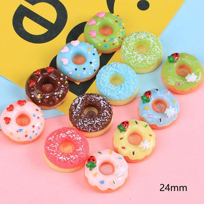 10 Uds. Cabujones de resina en miniatura para Donuts, artesanías de imitación de alimentos falsos, cabujones de reverso plano, DIY, álbum de recortes para decoración de teléfonos, artesanías
