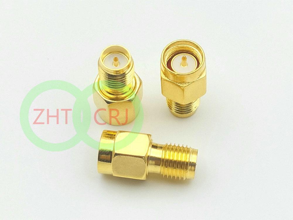 200 قطعة sma الذهب لوحة SMA الذكور التوصيل إلى RP-SMA الإناث التوصيل RF محوري موصلات