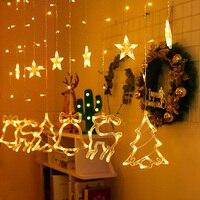Светодиодная гирлянда с Луной и звездами, Рождественский домашний декор, занавеска, огни Рамадана, рождественское праздничное освещение дл...