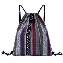 Vintage National femmes fille toile cordon sacs armure tissu coton épaule chaîne rayure sac pochette Pack mode Shopping