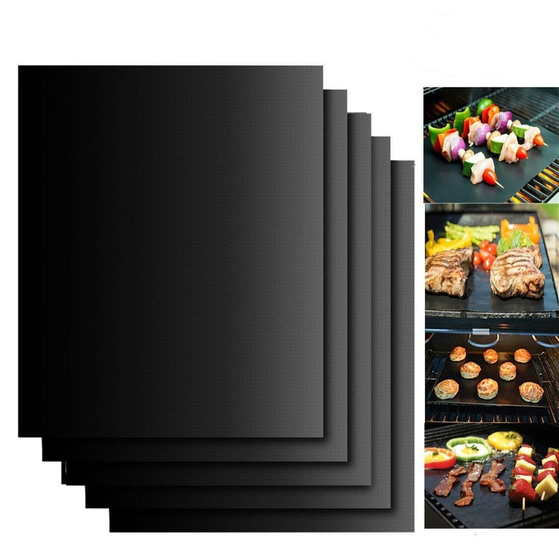 BBQ Grill Mat Barbecue Outdoor Baking Non-stick Pad Reusable Cooking Plate 40 * 30cm for Party PTFE