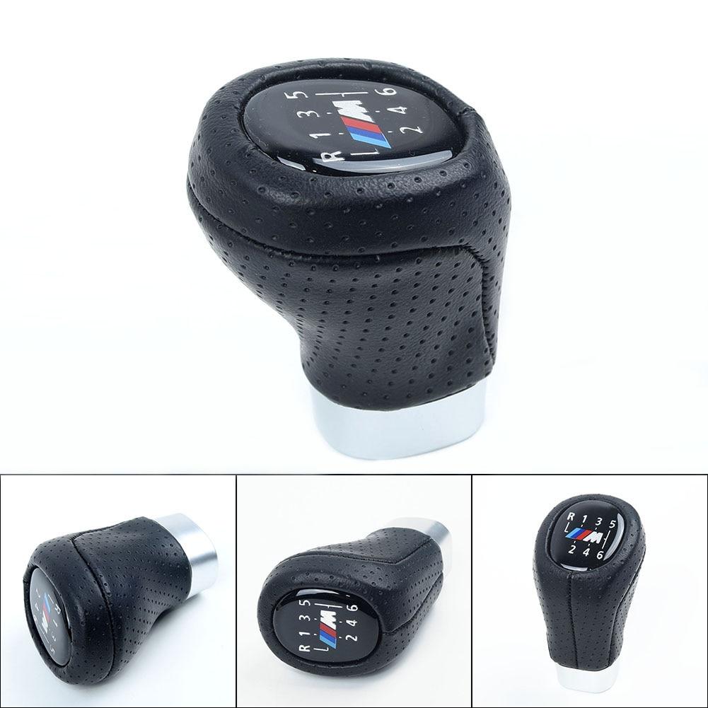 Pomo de cambio de marchas M SPORT PU cuero 6 velocidades para BMW 1,3 E81 E82 E90 E91 E92 hacen que su coche sea elegante y elegante