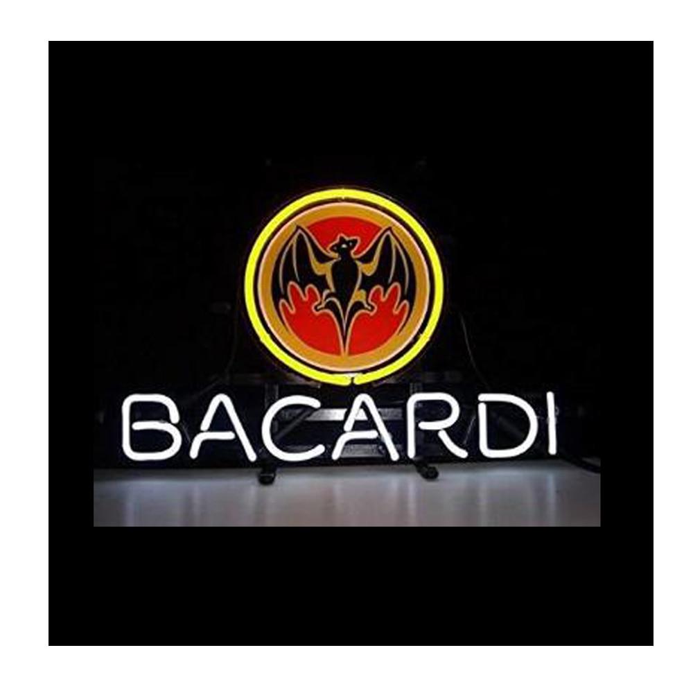 BACARDI-أنبوب زجاجي مطبوع عليه شعار بات ، أنبوب زجاجي حقيقي مصنوع يدويًا ، للبيرة ، البار ، المتجر ، الإعلان عن الديكور ، علامة النيون 17