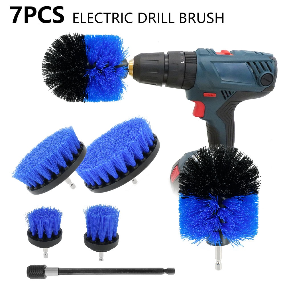 7 in 1 Drill Brushes Kit Electric Attachment Set Car Tile Washing Power Scrubber Cleaner Kitchen Cleaning Tools Accessories