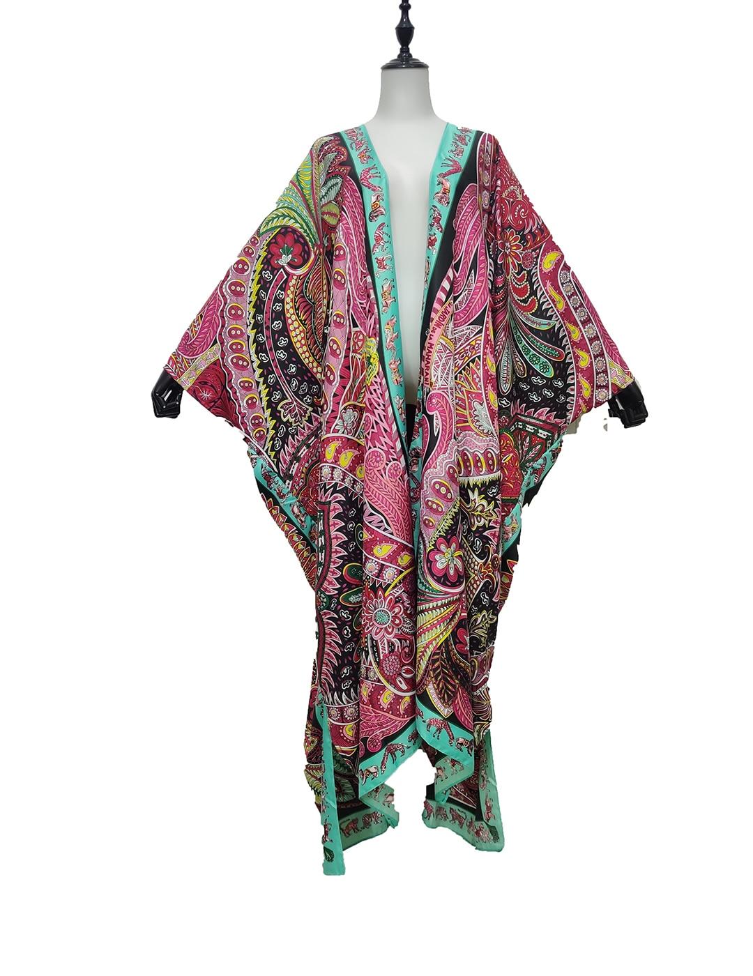 كيمونو نسائي ، ملابس بحر أوروبية شهيرة ، حرير ، قفطان ، مقاس حر ، مفتوح ، جودة بوهيمية ، معطف عطلة جاف ، صيف 2021