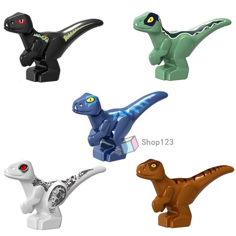 Bloques de construcción para niños, juguetes de regalo para bebés, animales, zoológico, Jurásico, dinosaurios, dragón, cerdos, lobos, osos, duendes