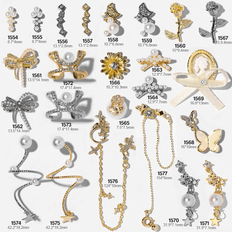 Pedras de strass de cristal para unhas, correntes de luxo brilhantes para unhas, modernas, dourado, prata, anel borboleta, charme, zircônia, decorações para arte em unhas
