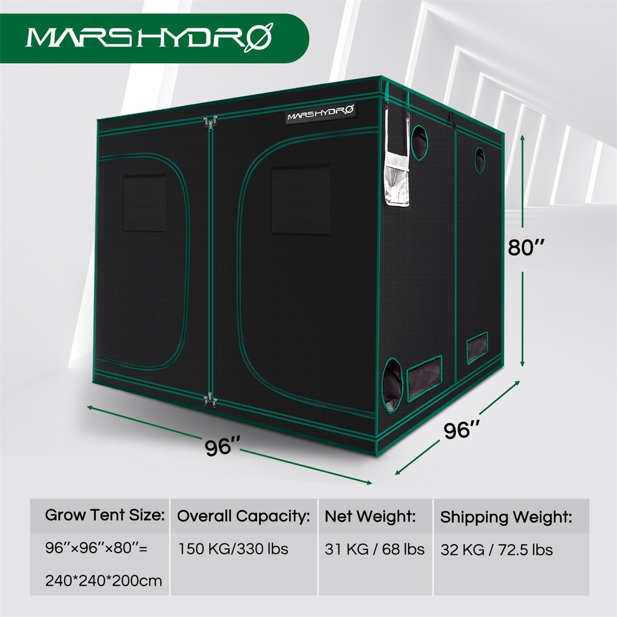 1680D Mars Hydro 240X240X200cm Indoor LED Grow Tent Indoor Growing  System Non-toxic plant room Indoor garden Water-proof hut enlarge