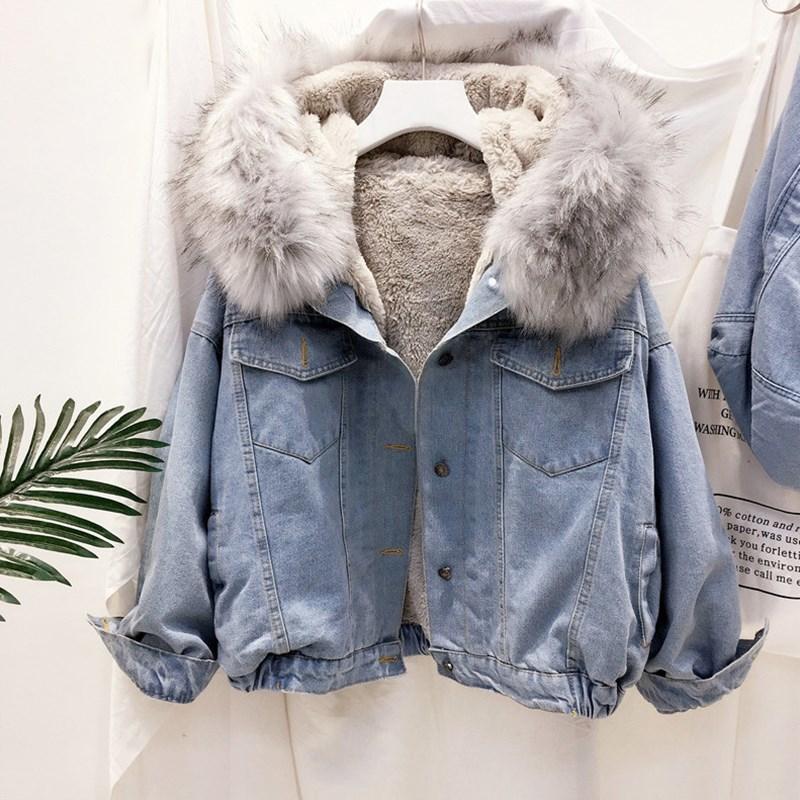 2019 samt dicken denim jacke weibliche winter großen faux pelz kragen Korea denim mantel weibliche studenten kurze mantel