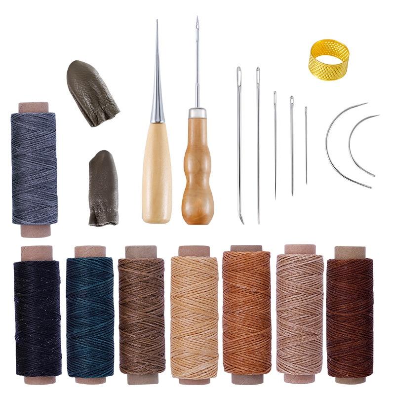 21 шт. кожаные ремесленные шовные Инструменты Набор с ручными швейными иглами шило наперстную вощеную нить для DIY пошив кожаных изделий