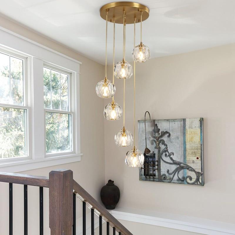 الشمال كريستال قلادة أضواء الدرج loft تركيبات الإضاءة الأنيقة المنزل المطبخ غرفة المعيشة غرفة الطعام المستديرة مصباح معلق