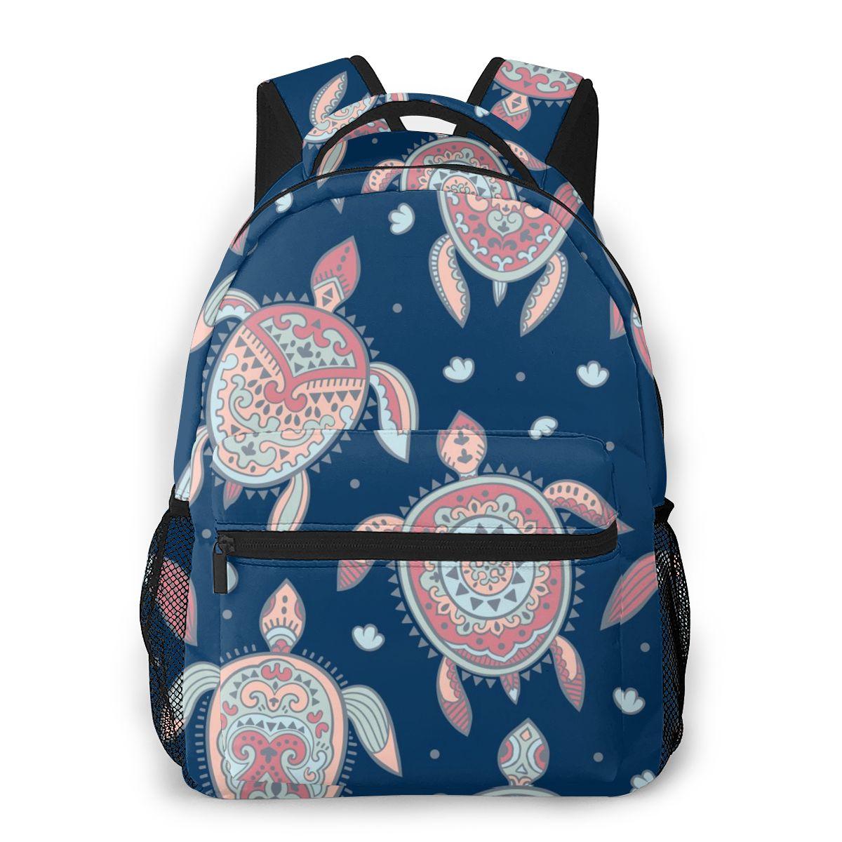 OLN-mochila para mujer, bolso de hombro Tribal con diseño de tortuga Mandala, para escuela, para adolescentes, 2020