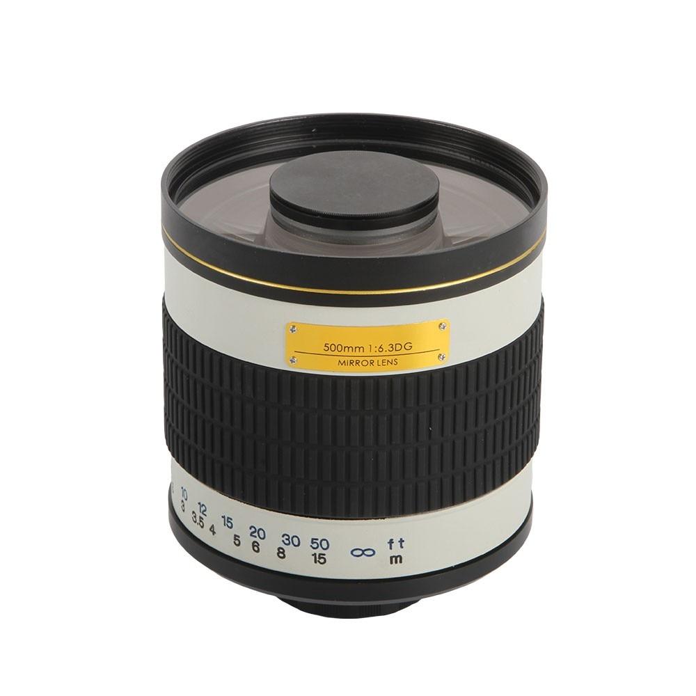 Blanco 500mm F6.3 Manual de enfoque fijo teleobjetivo espejo + T2 anillo adaptador de montura para Canon Nikon Pentax cámaras DSLR de Sony