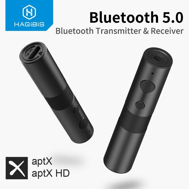 Hagibis Bluetooth 5.0 Transmitter Receiver aptx Adapter 2 in 1 3.5mm Jack Audio Wireless Adapter AUX