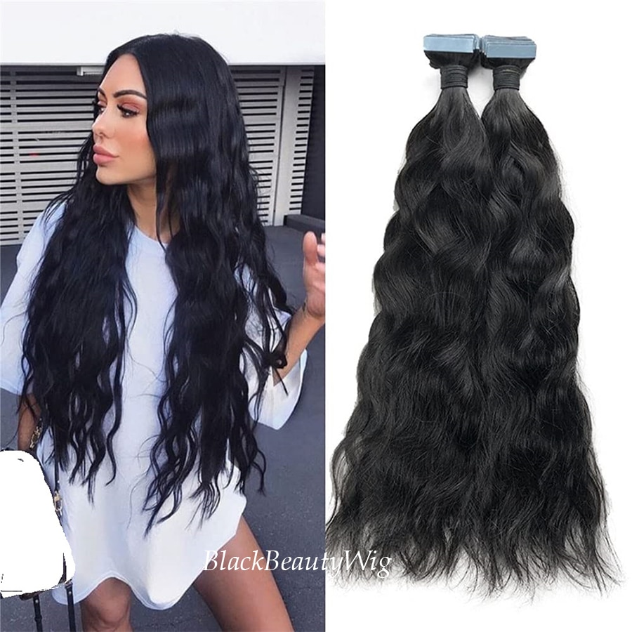 Long Natural Wavy Tape in Human Hair Extension Brazilian Remy Skin Weft Tape Hair Natural Black Adhesive Tape on Hair 100g 40Pcs