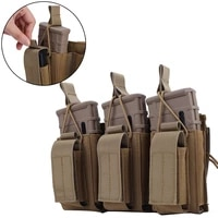 1000d tactiacl molle triple mag pouch for rifle and pistol open top hook and loop magazine pouches holder carrier m4 ak glock