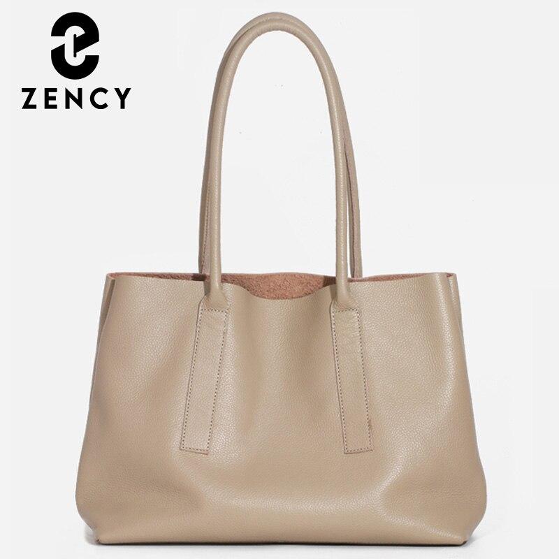 زنسي بسيطة عادية سعة كبيرة حقيبة كتف نسائية لينة جلد طبيعي حقيبة يد 2021 موضة أنيقة الإناث حمل حقيبة أسود
