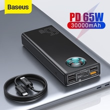 Baseus 65W Power Bank 30000mAh PD Quick Charging Powerbank Portable External fast Charger For phone