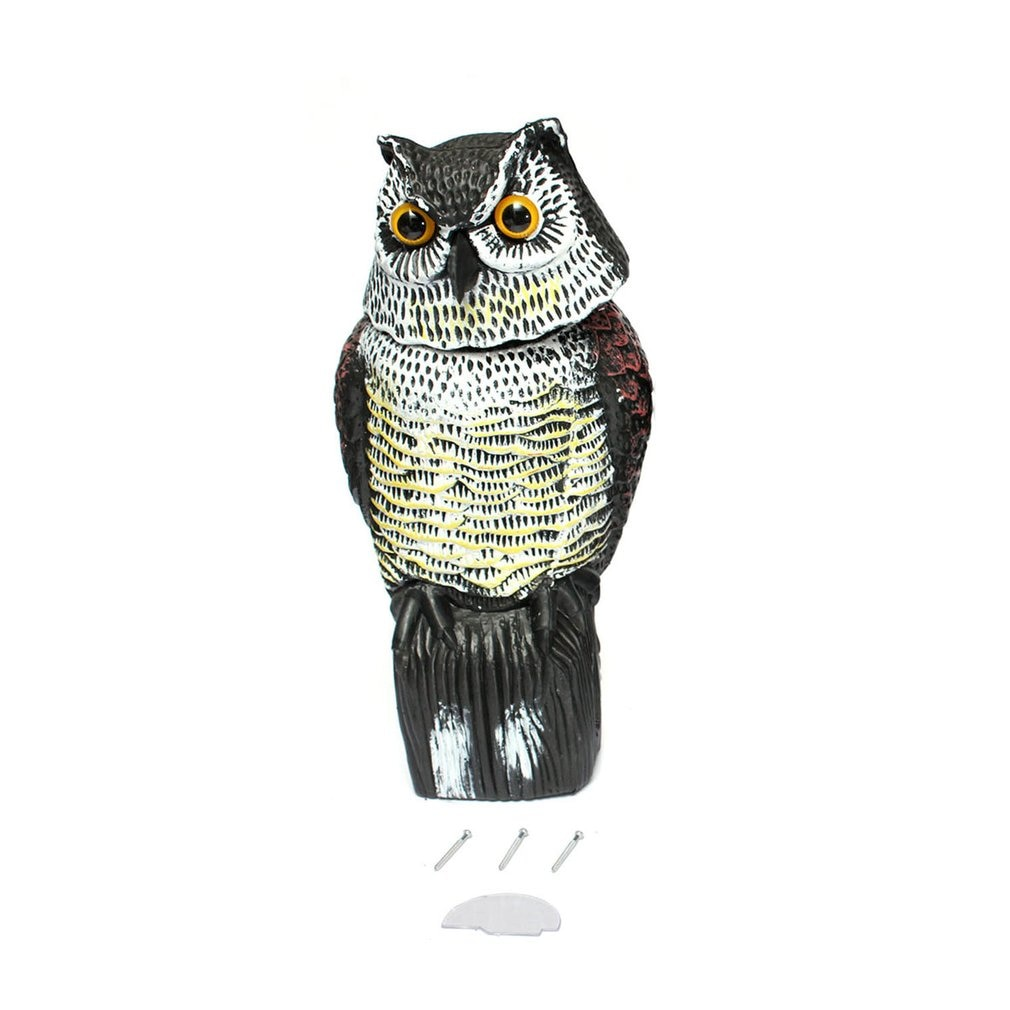 Realistic Owl Decoy with Rotating Head Garden Protection Repellent Bird Pest Scarer Scarecrow Hunting Decoys for Hunter wholesale denmark outdoor hunting decoy 50w decoy loud speaker bird caller hunting bird mp3 with 210 bird sounds