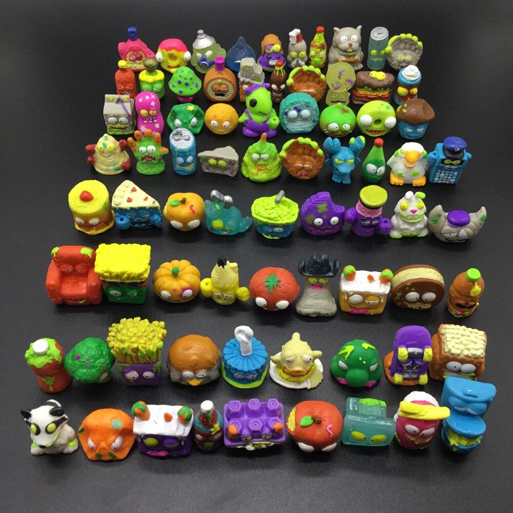 100 unids/lote de Anime de dibujos animados figuras de acción juguetes basura muñeca de vinilo Grossery banda modelo juguetes de los niños regalo de Navidad para los niños