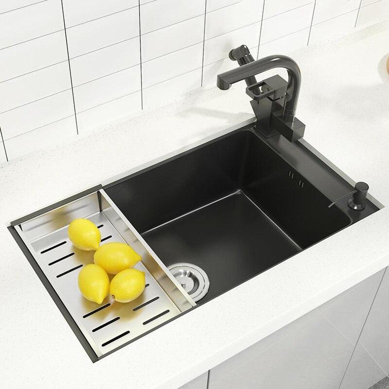 شقة صغيرة بالوعة المطبخ الفولاذ المقاوم للصدأ الجانب الحنفية تركيب وعاء واحد Topmount حوض للمطبخ بار شرفة تركيبات