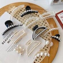 2021 nuovi eleganti grandi perle Clip di capelli Clip di artigli per capelli in acrilico barrette per acconciature per trucco di grandi dimensioni per accessori per capelli da donna
